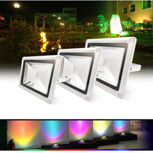 10W 20W 30W 50W LED Outdoor lamp RGB/White/warm white Waterproof Multicolor Flood Light + 24key IR Remote AC 85-265V