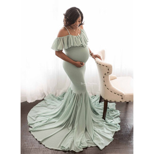 Image 1 - Long Maternity Photography Props Dresses For Pregnant Women Clothes Maternity Dresses For Photo Shoot Pregnancy Dress Maxi Gown