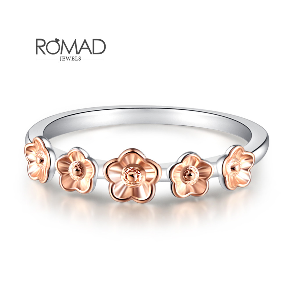 Romad Top Quality Zircon Crystals Midi Plum Flowr Rings For Women 2018 Rose Gold Color Wedding Ring Female Anel Jewelry Gift R5