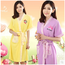 Towel Bath Robe Dressing Gown Unisex Men Women Sleeve Solid Cotton Waffle Sleep Lounge Bathrobe Peignoir Nightgowns Lovers Robes