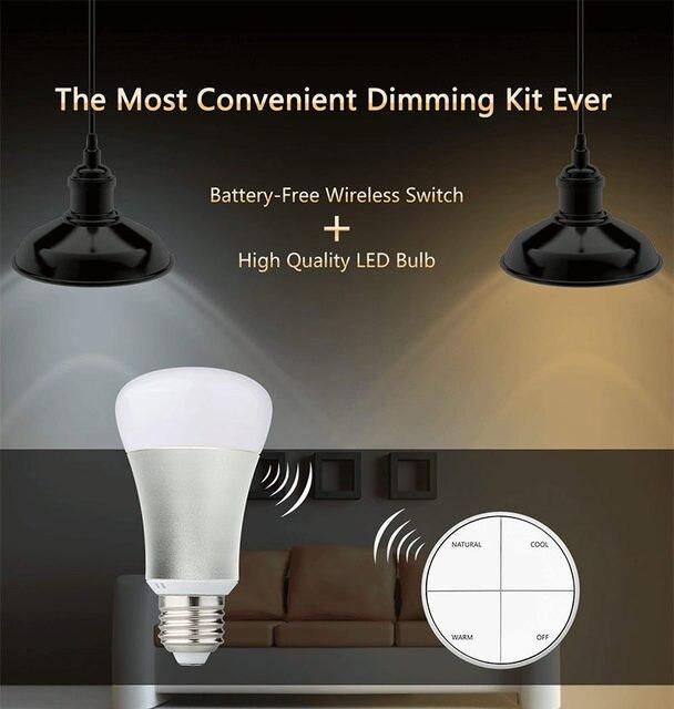 Smart Dimmable LED Light Bulb Spotlight Pendant Lamp Bulb E27 8W 600lm Battery-Free Wireless Control Switch Kit Lighting 85~265V