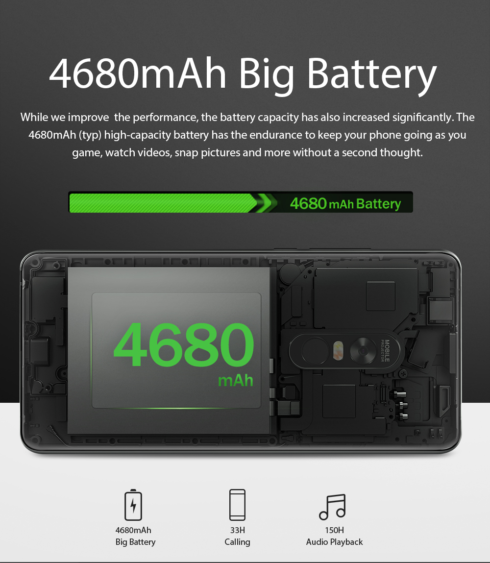 """Image 4 - Blackview MAX 1 Smartphone 6GB+64GB 6.01"""" Screen 4680mAh MT6763T Octa Core Android 8.1 Dual SIM Mobile Phone NFC Mini Projector-in Cellphones from Cellphones & Telecommunications"""