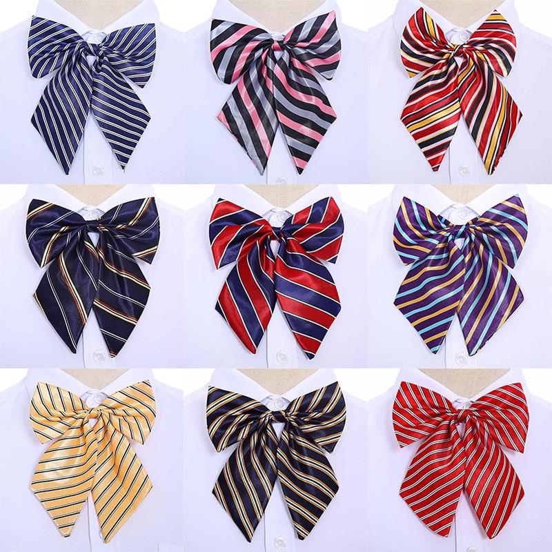 Bow Ties Stewardess Korean Cravat Butterfly High Quality 1PC Bowties Neck Wear Accessories Women Vintage 2020 New Silk Striped