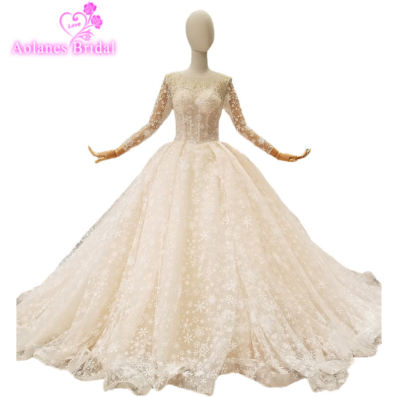 2018 Champagne Lace Snow Appliques Scoop Cathedral Train Long Sleeves Bride Wedding Dresses Ball Gown Illusion Vestido De Noiva