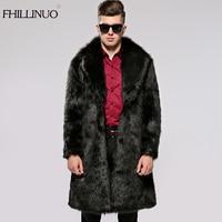 FHILLINUO Men Fur Coat Winter 2017 Plus Size Faux Fur Coat Men Parka Jackets Full Length