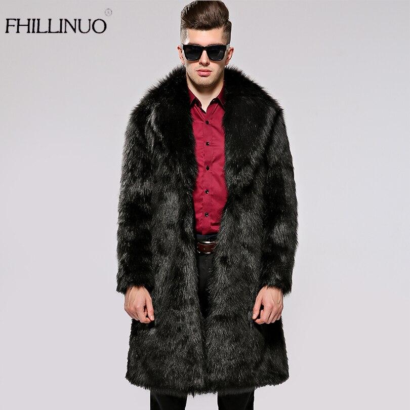 FHILLINUO Men Fur Coat Winter 2017 Plus Size Faux Fur Coat Men Parka Jackets Full Length Leather Overcoats With Collar Fur coats
