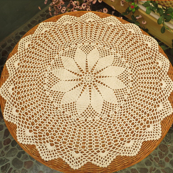 Handmade Vintage Crochet Round Tablecloth Table Topper Coffee Tea