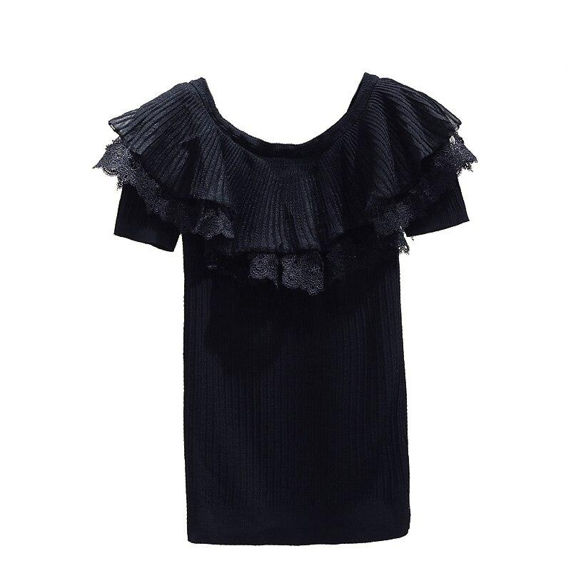 Dentelle Patchwork volants haut tricoté pour les femmes nouveau printemps été à manches courtes chandails femmes mince tricot pulls - 5