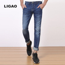 LIGAO 2017 Men's Jeans High Elastic Slim Denim Pants Breathable Straight Trousers Casual Male Mens Pant Plus Size