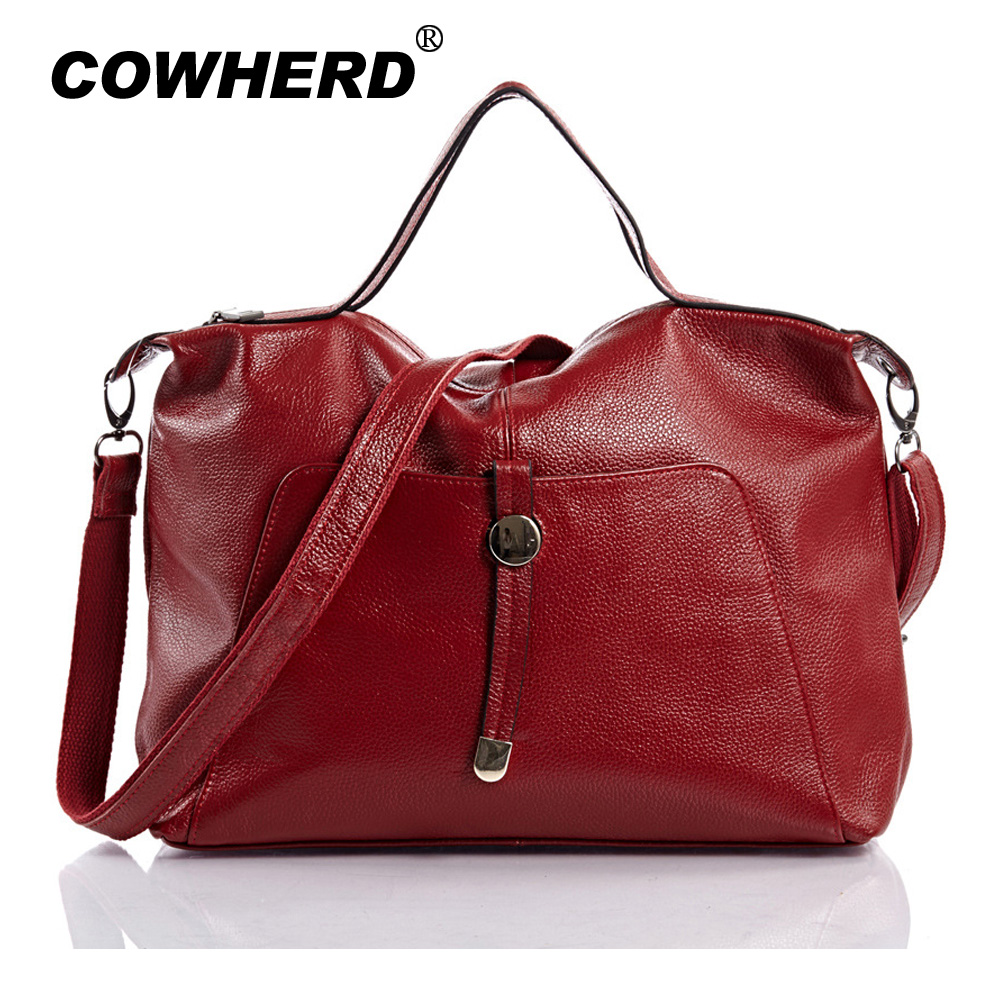 Bag Leather Shoulder 2017 Women's Handbags Handbag Genuine Lady Black Cow Bags Cowherd Totes Sling New Female Big SwRq66