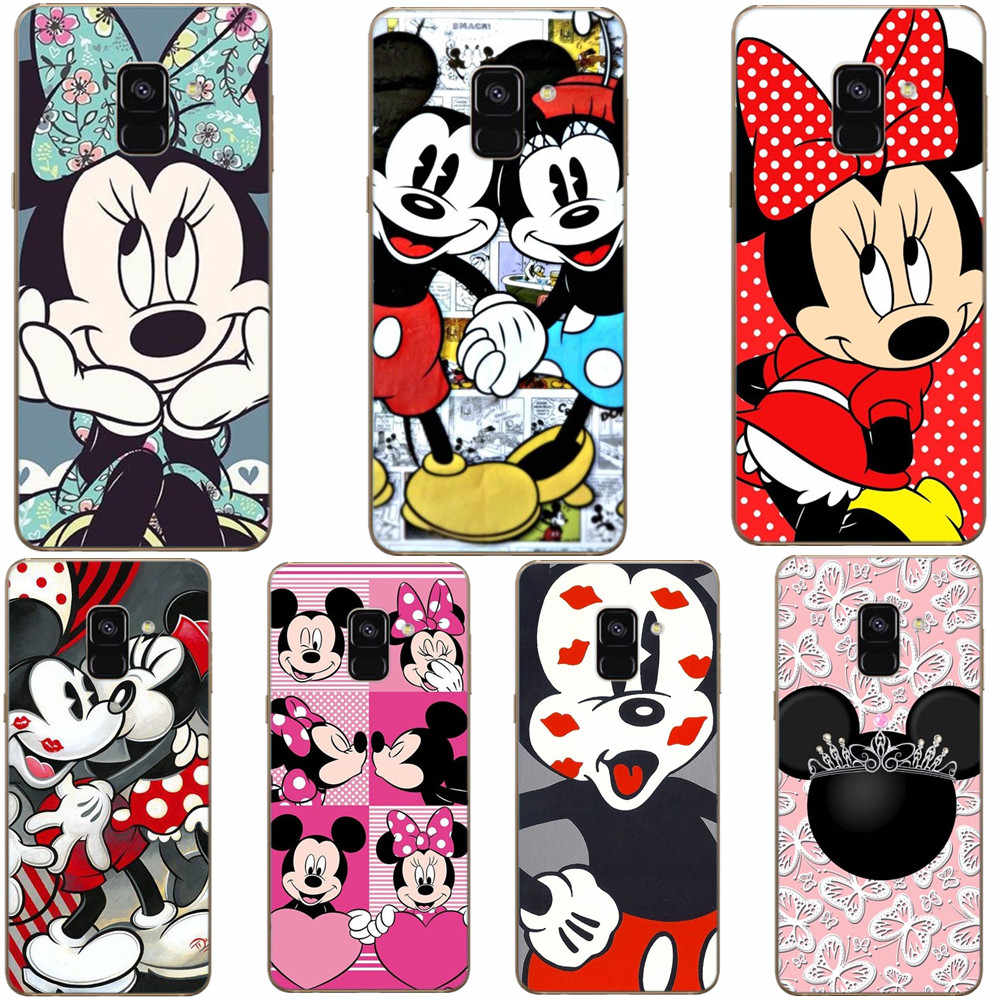 Lucu Kartun Pasangan Mickey Minnie Case Lembut Bening Silikon TPU Back Cover Phone Case untuk Samsung S5 S6 S7 Edge s8 S9 Plus Note9