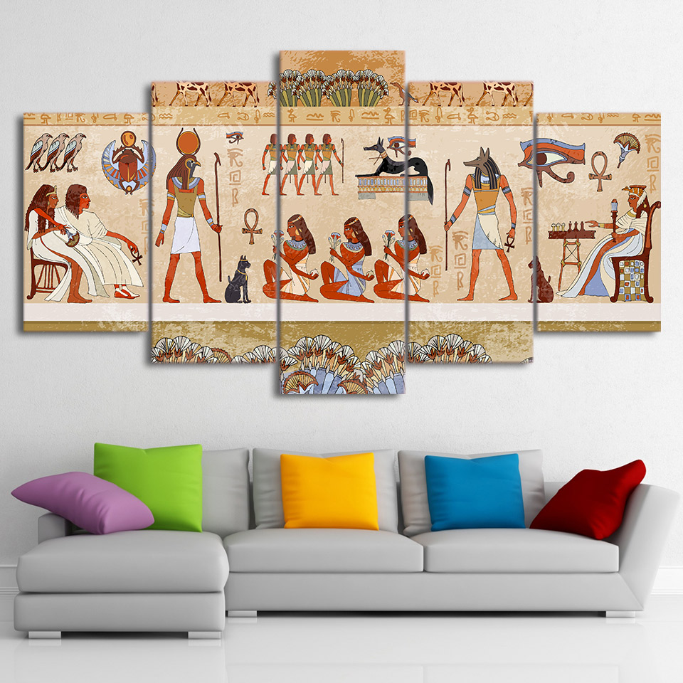 HD Printed 5 Piece Canvas Art Paintings Wall Egyptian Pictures Modular Ancient Dynasty Poster Home Decor Free Shipping no frame