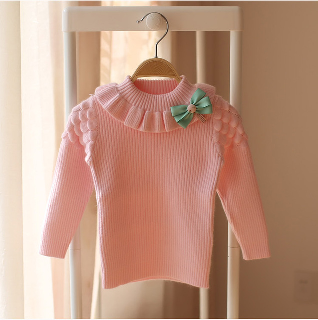 2017 spring and autumn baby girls high neck knitted sweater children sweater children fashion cute bow pretty warm sweater