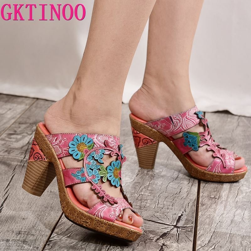 GKTINOO 2019 Summer Women High Heel Shoes Peep Toes Handmade Vintage Flowers Genuine Leather Lady Outdoor