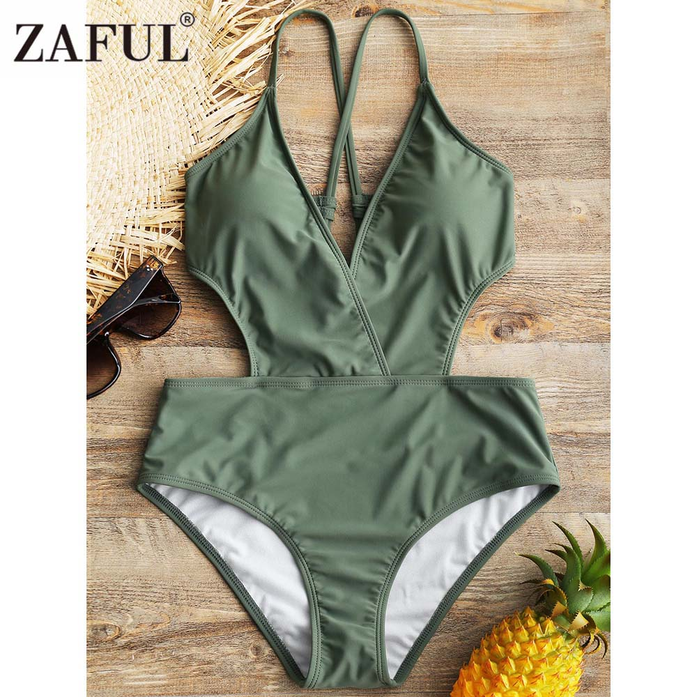 ZAFUL Cross Back Swimwear Women One Piece Swimsuit Hollow Out Backless Bodysuit Bathing Suit Swim Suit Maillot De Bain Femme 2018 one piece swimsuit women white black bodysuit swimwear hollow out monokini bathing suit sexy maillot de bain biquini e450