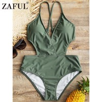 ZAFUL Cross Back Swimwear Women One Piece Swimsuit Hollow Out Backless Bodysuit Bathing Suit Swim Suit