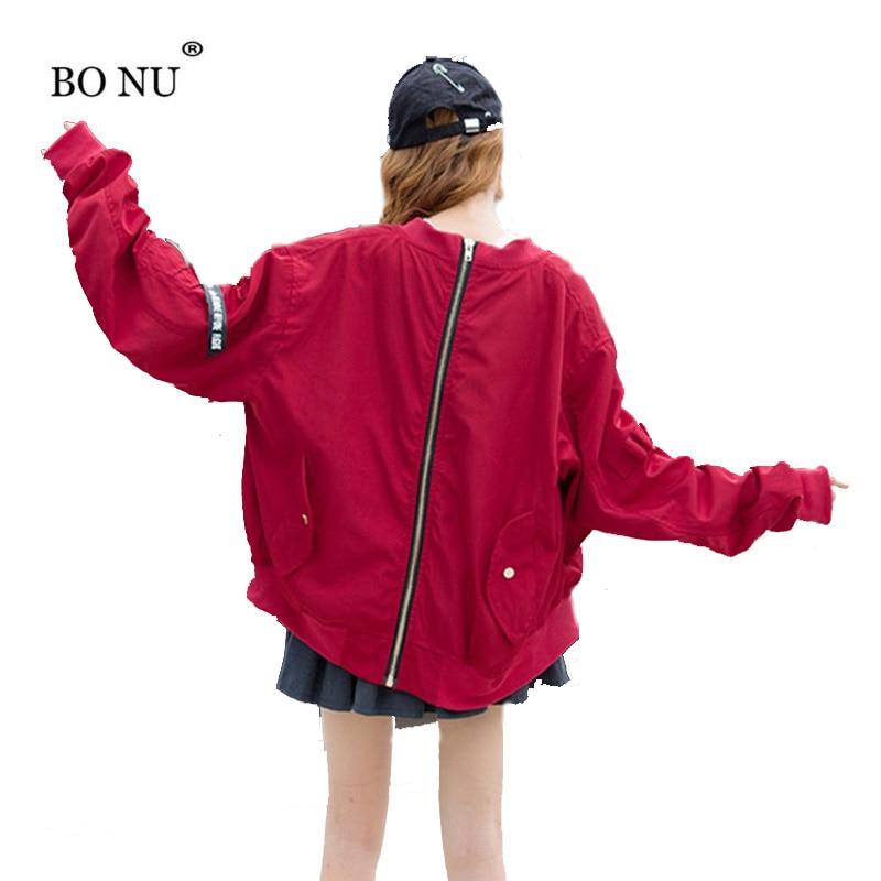 6e7dc3105 BONU Harajuku Loose women's zipper jacket Long Sleeve Printed vintage Coats  female windbreaker for ...