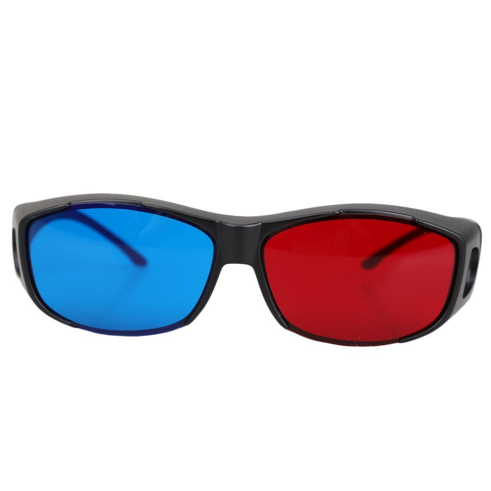 HFES 5pairs Red+Blue Plasma TV Movie Dimensional Anaglyph 3D Vision Glasses (Anaglyph Frame), Black