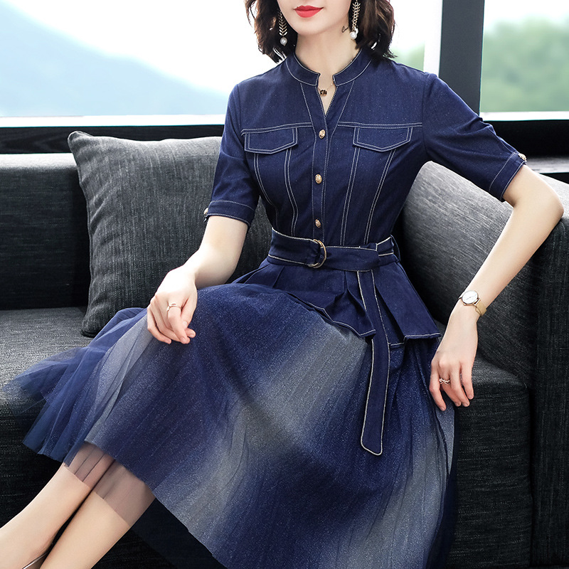 Femmes vêtements 2019 nouvelle mode à manches courtes Denim maille couture robe simple boutonnage robes élégantes femme