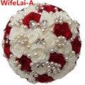 Elegante Personalizada Rojo Crema Nupcial Ramo De La Boda Con la Perla de la Broche de Perlas Y Cristal De Rose de Seda Wedding Bride Bouquet W128