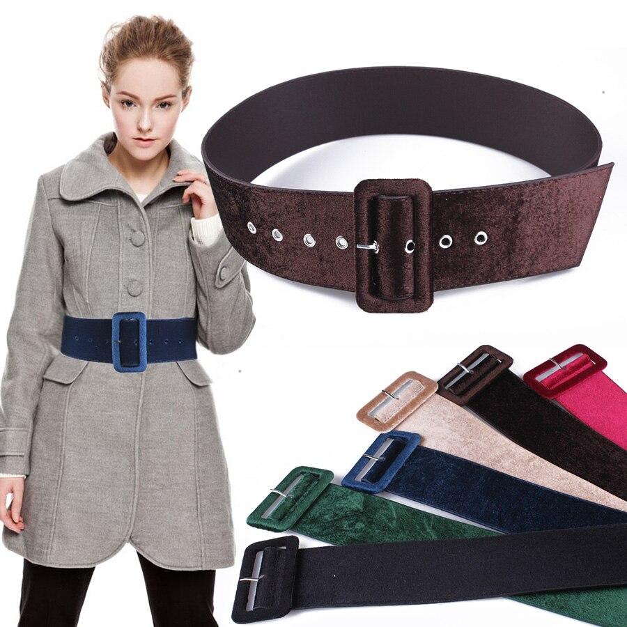 Nuevo diseño cinturón ancho para mujer cinturones de vestir decorar cintura  moda plata hebilla de terciopelo cinturón de fiesta negro franela Mujer en  Las ... b55d8aef3e98