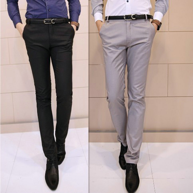 2015 New Arrival Button Fly Flat Woolen Suit Pants pants mens slim ...