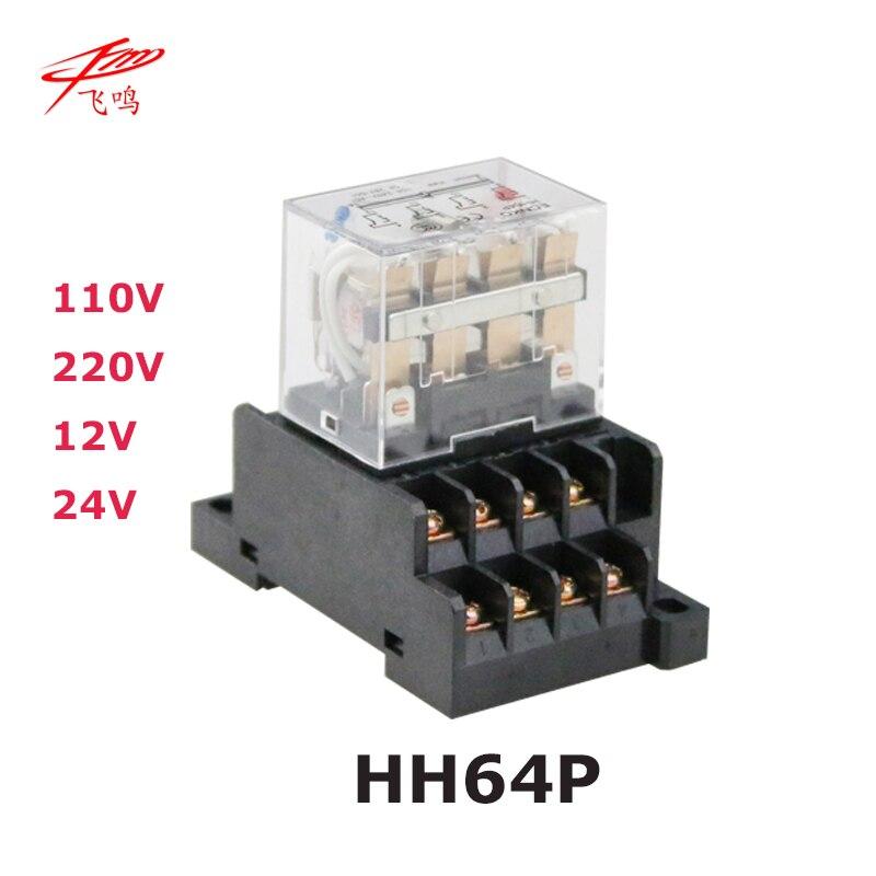 LY4NJ HH64P AC 110V 220V DC 12V DC 24V 14PIN 10A silver contact Power Relay Coil 4PDT with socket Base батут nj 12 48d