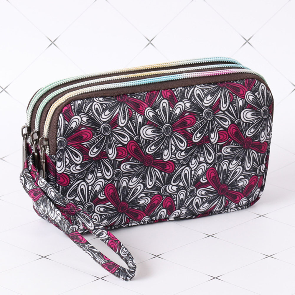 Women Casual Floral Daily Phone Bag Long Section Three-layer Zipper Fashion Key Coin Canvas Pouch Large Capacity Clutch Handbag