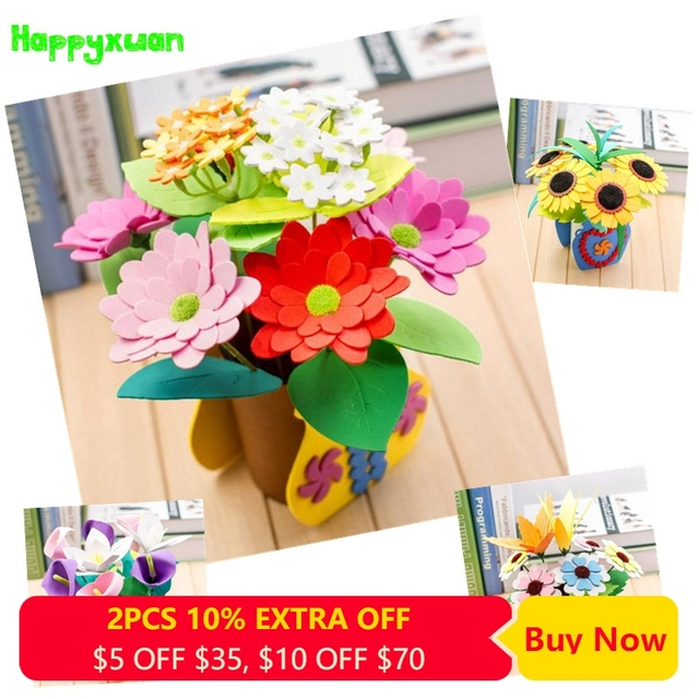 Happyxuan 4 designs/lot DIY Craft Kit Flower Pot Eva Foam Sticker Puzzle Kindergarten Creative Education Toy for Girls Children