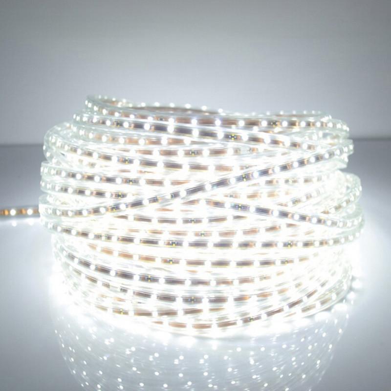 SMD 5050 AC 220 V tira de LED blanco impermeable al aire libre de 220 V 5050 de 220 V tira de LED 220 v SMD 5050 LED tira de luz 5 m 10 M 20 M 25 m 220 V