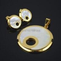 SS1891 Ronde Natuurlijke Shell Rvs earring + hanger ketting accessoire, groothandelaar