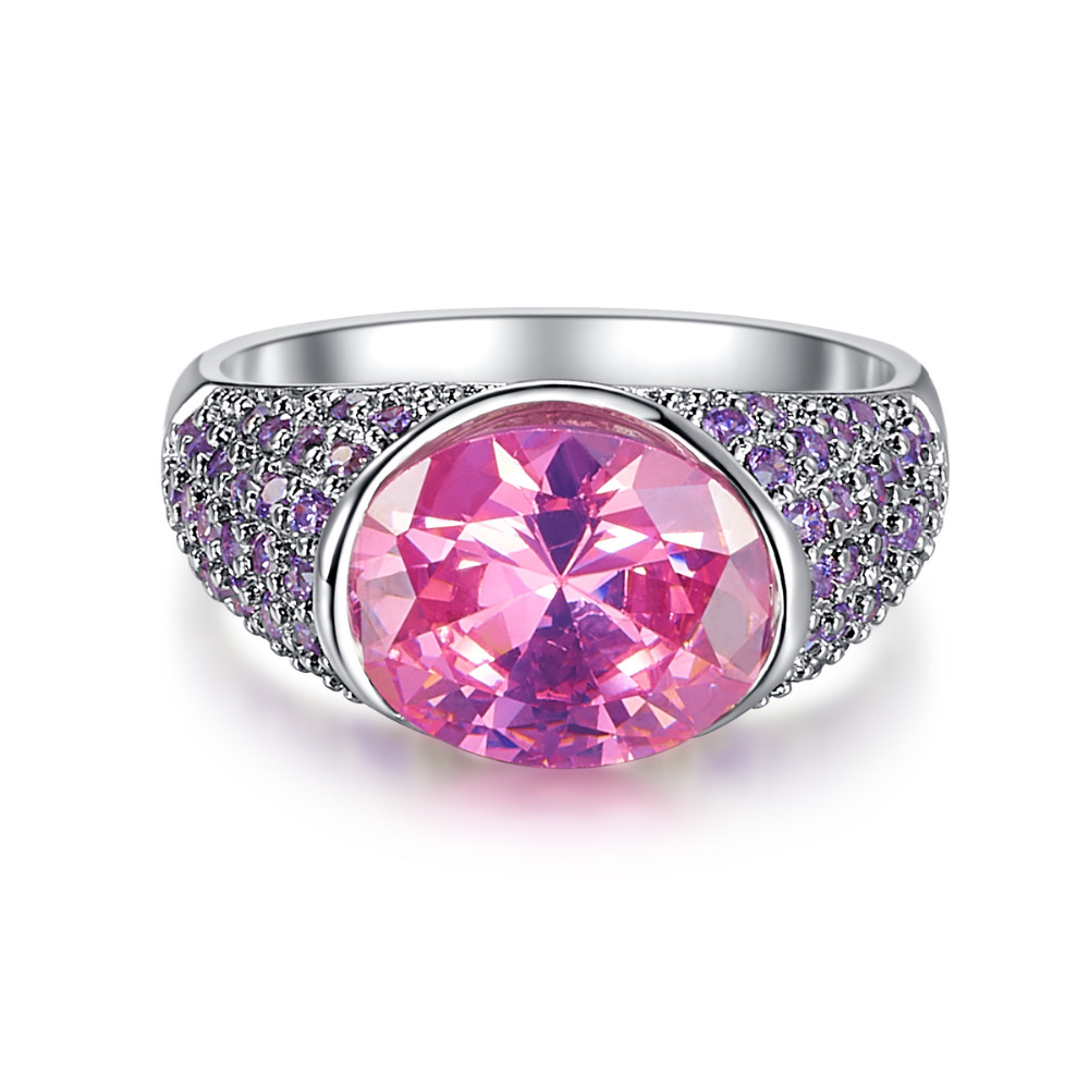 Top Charm oval cut pink band purple Vintage zirconia stone crystal ...