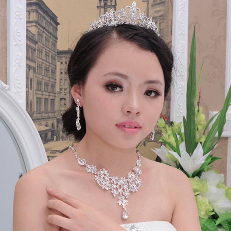 Crystal Tiara Crown Earring Necklace Bride Women Pageant Prom Fashion Jewelry