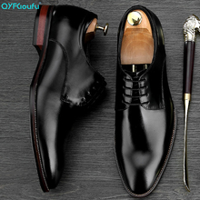 QYFCIOUFU The New Listing High Quality Genuine Leather Suit Shoes Men Lace-Up Business Male Formal Dress Derby