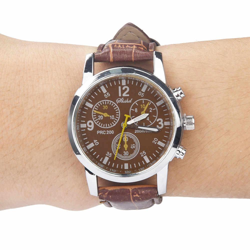 2019 relogio masculino Blue ray glas neutrale horloges mannen Quartz Horloges simuleert epidermale Lederen Band Business watch