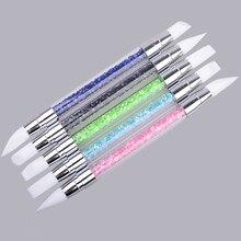 5pcs/set 2 Way UV Gel Nail Art Brush Carving Pen Silicone Head Acrylic Handle Salon Tools Beauty Rhinestone Polish