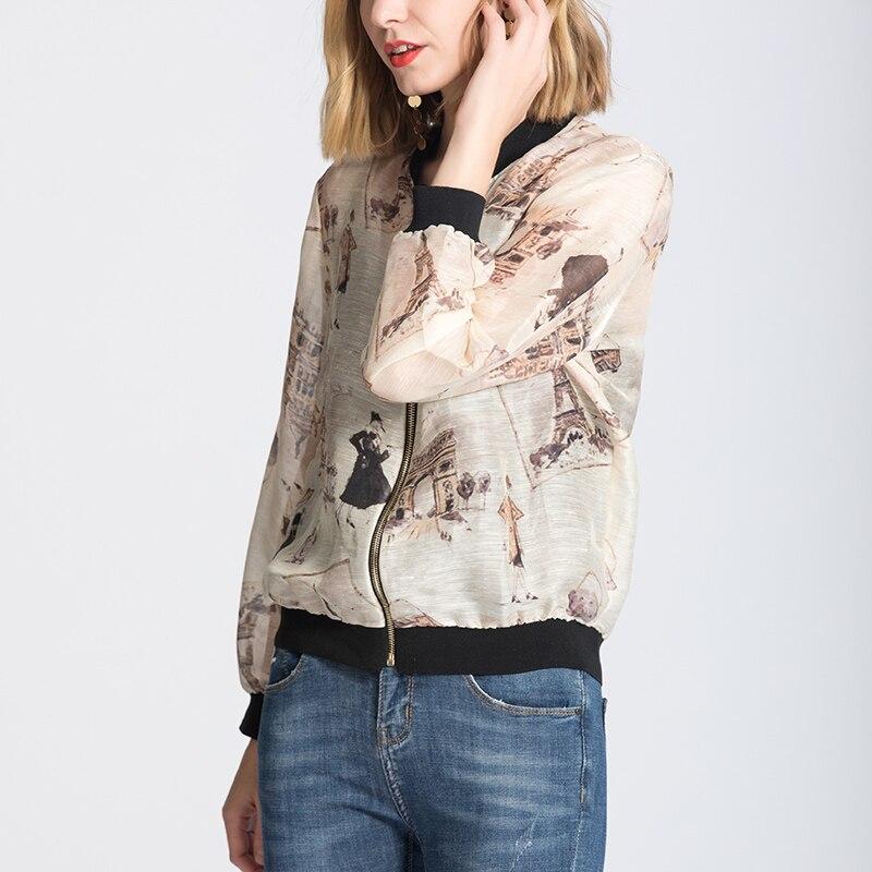 50 Chiusura Donne Giubbotti Seta 2018 Casual Di Nuovo Outwear Lino Rivestimento Stampato Delle Print Gelso Autunno Della Lampo Inverno 5EqOWWz7