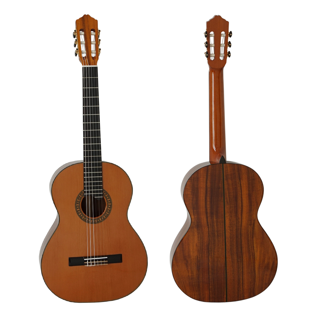 все цены на New solid wood cedar top All Solid Master Grade Vintage Classic Guitar Nylon string Spanish Guitar SC03CK free hard case