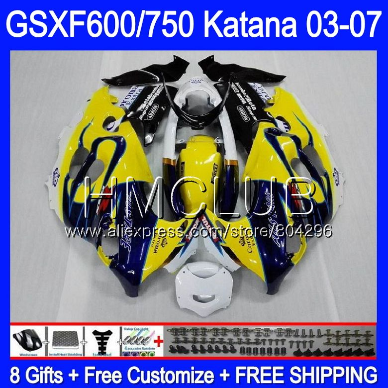 ¡Cuerpo para SUZUKI KATANA GSXF600 2003, 2004, 2005, 2006, 2007 8HM! 0 GSX600F GSXF 600 750 GSXF750 03 04 05 06 07 carenado amarillo CORONA
