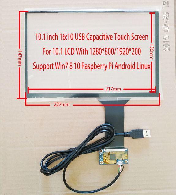 10.1 Cal 1280*800 IPS dotykowy zestaw LCD USB 5V wsparcie Win7 8 10 Raspberry Pi Android Linux sprzęt przemysłowy 10 palców dotykowy