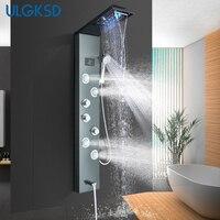 Светодио дный дождевой водопад смеситель для душа набор ж/гидроэлектричество цифровой дисплей душевая панель Колонка 2 way Spa струи ванна душ