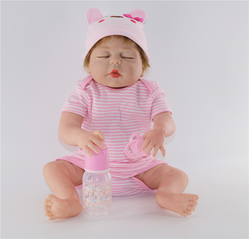 22 Full silicone reborn babies dolls bebe 55cm lifelike girl sleeping doll handmade  children Birthday cute Present Bathe Toy22 Full silicone reborn babies dolls bebe 55cm lifelike girl sleeping doll handmade  children Birthday cute Present Bathe Toy