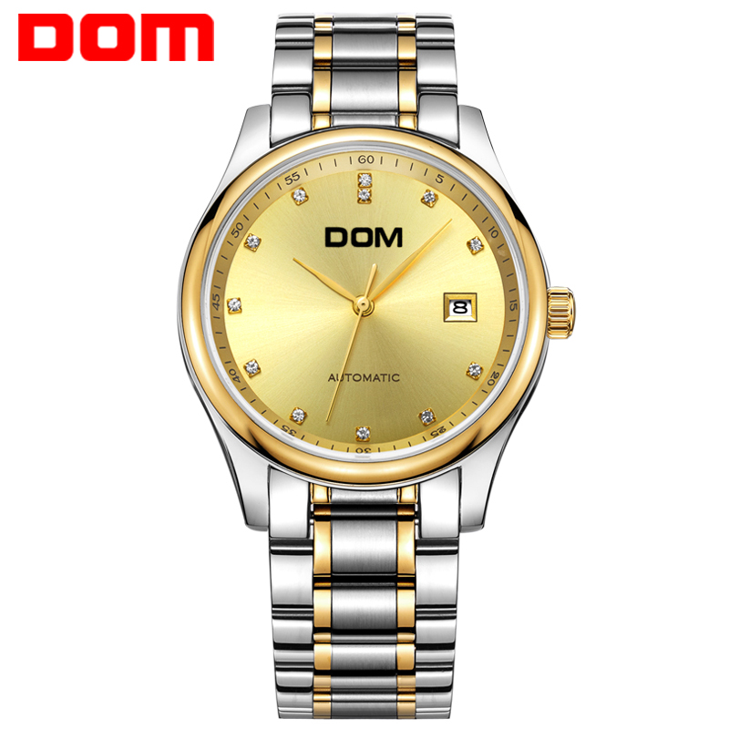 man watch DOM mechanical top luxury  waterproof  stainless steel  mens watches crystal reloj hombre M-95 wrist switzerland automatic mechanical men watch waterproof mens watches top brand luxury sapphire military reloj hombre b6036