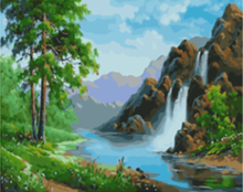 "DIY Painting By Number – Waterfall (16""x20"" / 40x50cm)"