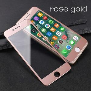 Image 1 - Verre coloré sur le pour iPhone 6 6S 7 8 protecteur décran Anti coup couverture complète verre de protection sur le pour iPhone 6 7 8 Plus