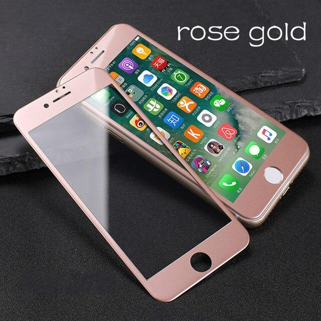 Verre coloré sur le pour iPhone 6 6S 7 8 protecteur décran Anti coup couverture complète verre de protection sur le pour iPhone 6 7 8 Plus