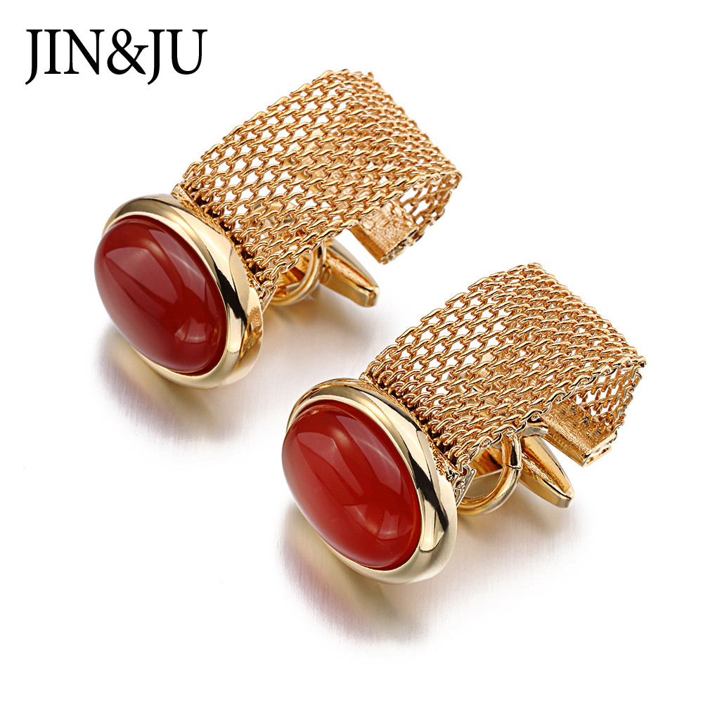 JIN & JU Hot Luxury 3 Color Chain Manchetknapper til Herreshirt Cufflink High Quality Ellipse Stone Manchet Links Gemelos