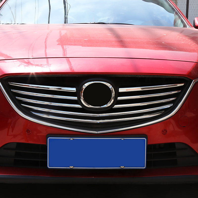AX Chrome Front Mesh Grille Cover For Mazda 6 Atenza m6 Gj 2014 2015 Trim Radiator