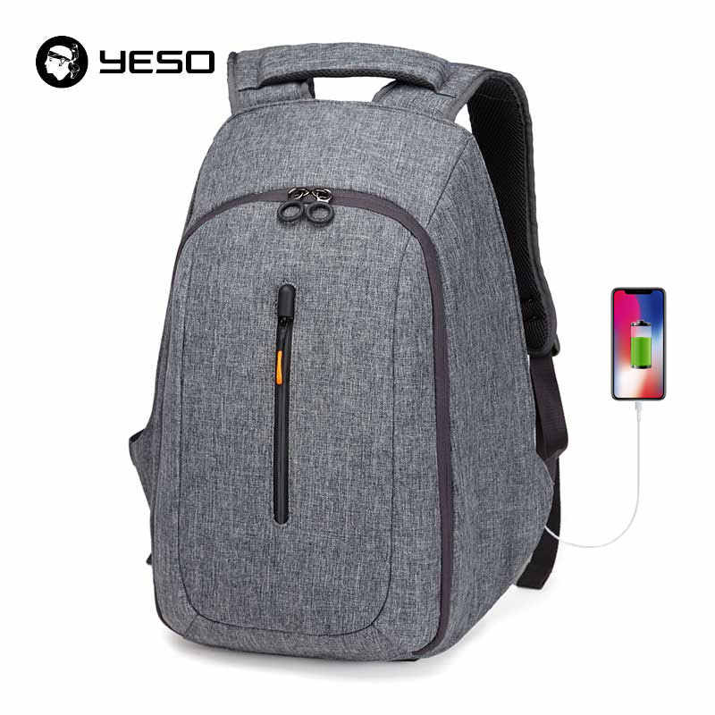 YESO usb зарядка Рюкзак подходит для 15 дюймов ноутбук рюкзак мужской большой емкости влагозащищенный Анти-кража Рюкзаки Сумки для подростка