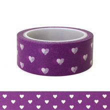 20pcs/set Kawai Cartoon Washi Tape Brilliant Purple Love Lovers Holiday DIY Decorative  Heart Stickers Wholesaler